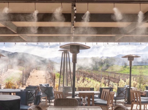 misting system installed in a resort and vineyard