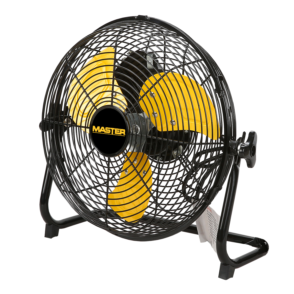 "12"" Master High Velocity Direct Drive Floor-High Velocity Fan with three yellow blades"