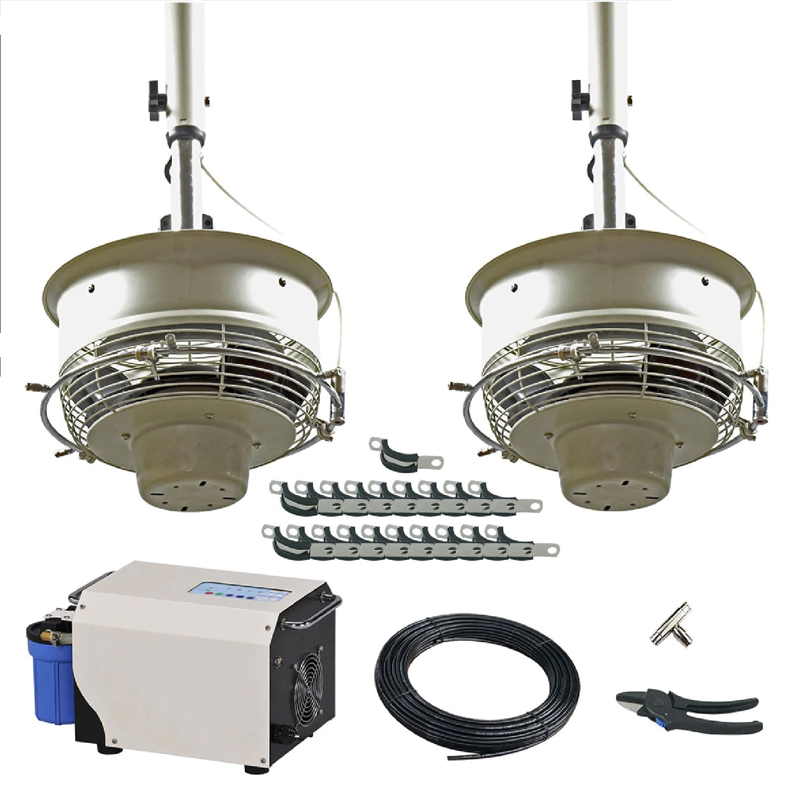 2 Ceiling Mount CentraMist Fans with 15 Nozzle Pump Package White