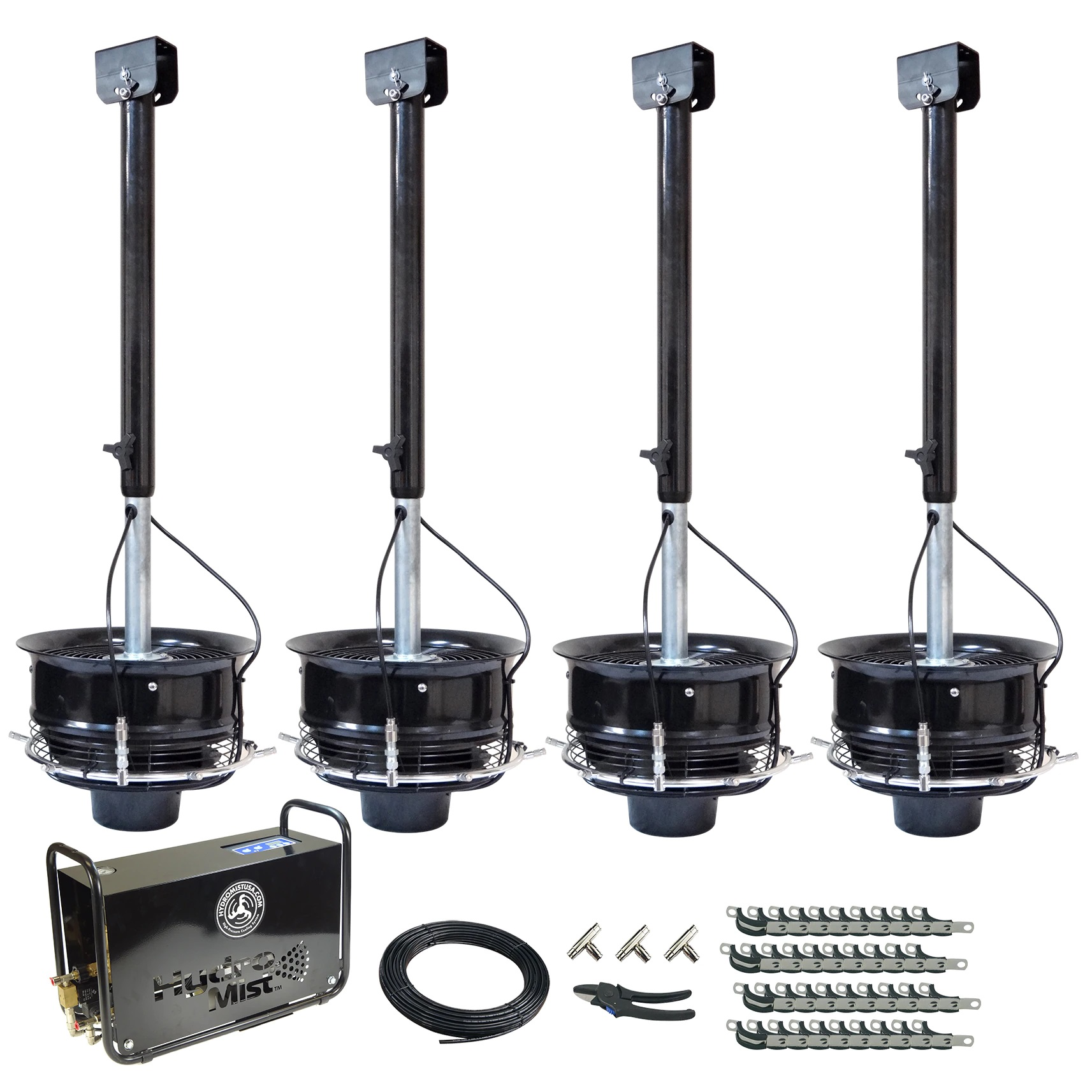 4 CentraMist Ceiling Mount Fans with Digi Pro Pump Package Black