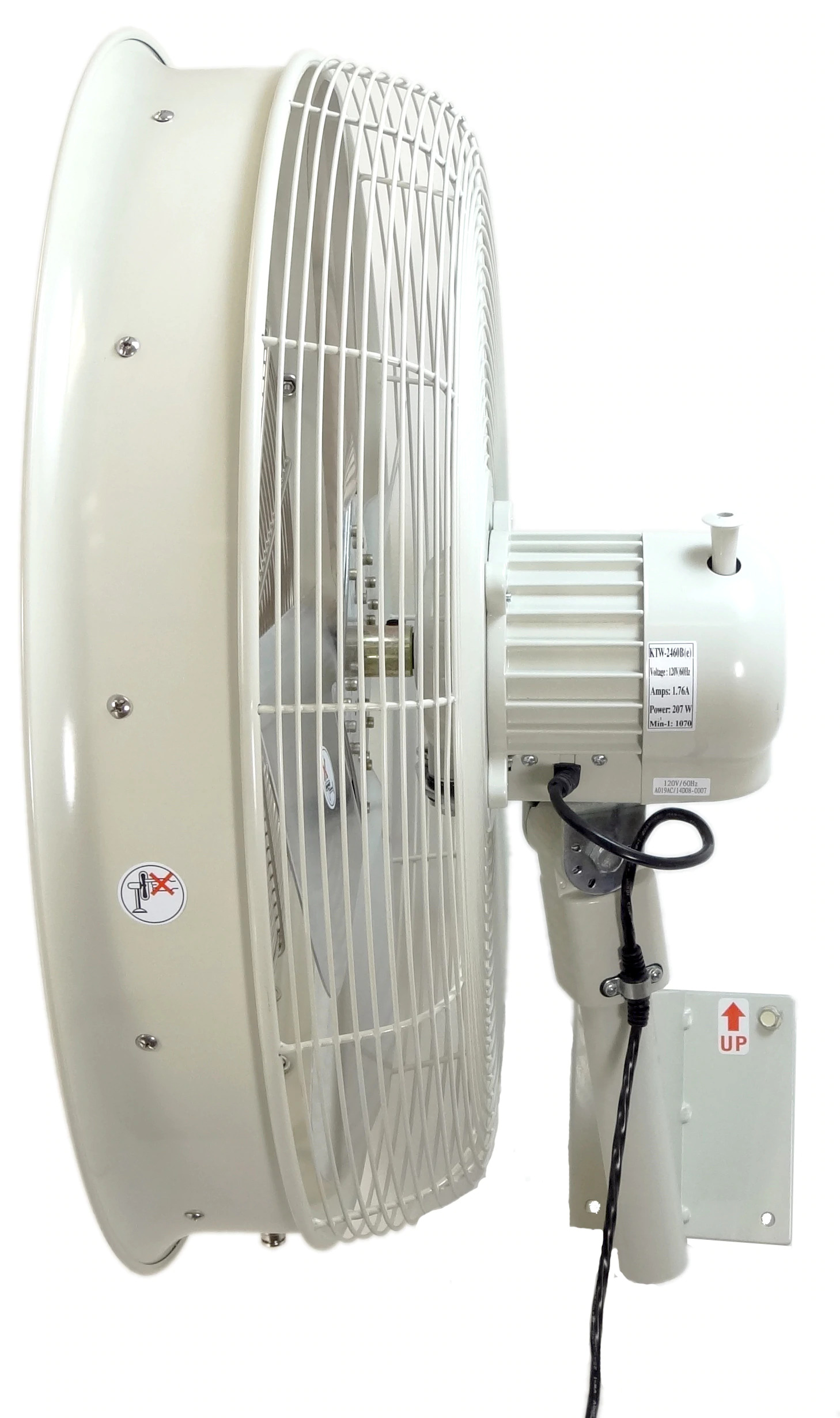 side view of white 24 Inch Shrouded Ocscillating Outdoor Indoor Fan