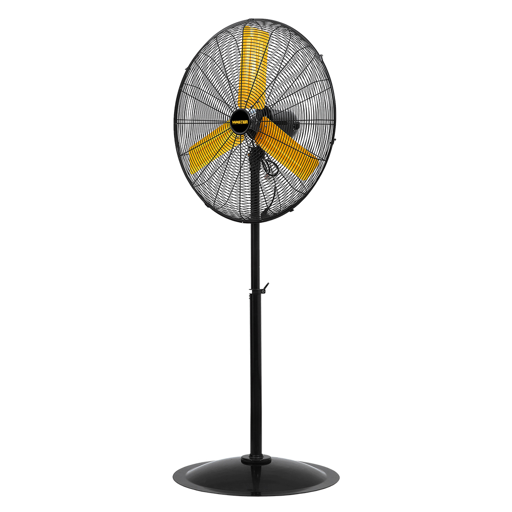 """24"""" Master Industrial Velocity Pedestal Fan with yellow blades front view"""