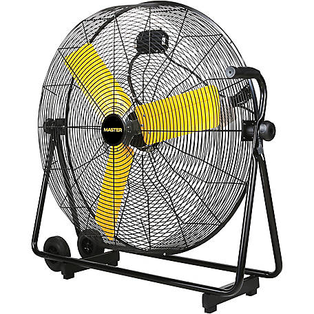 """24"""" Master High Velocity Pedestal Fan black with 3 yellow blades"""