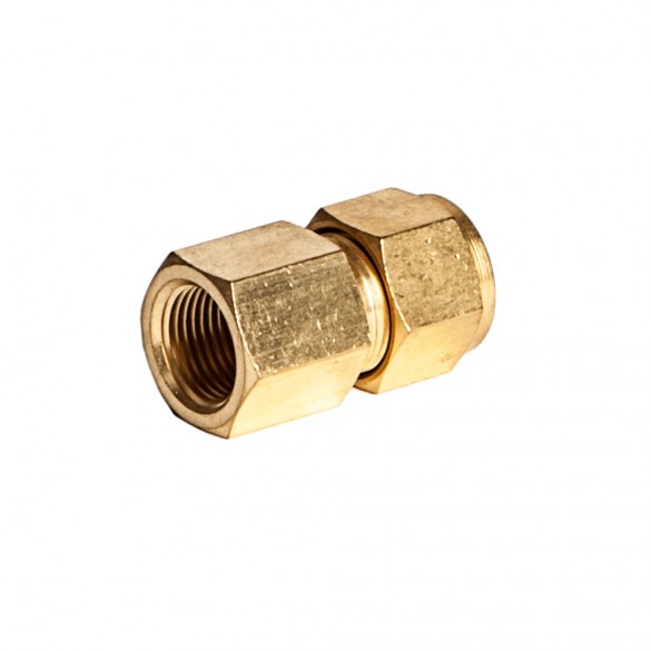 """side view of Brass Female Adapter 3/8"""" X 3/8"""" Fnpt"""