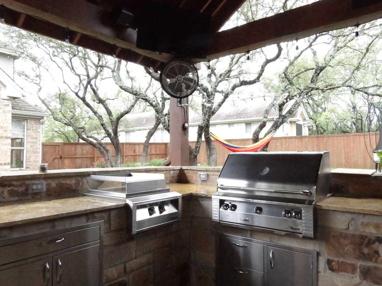 Outdoor Oscillating 18 Inch Fan w/ Mounting Bracket -3 Speed Control on Fan Motor installed on backyard kitchen of residential property