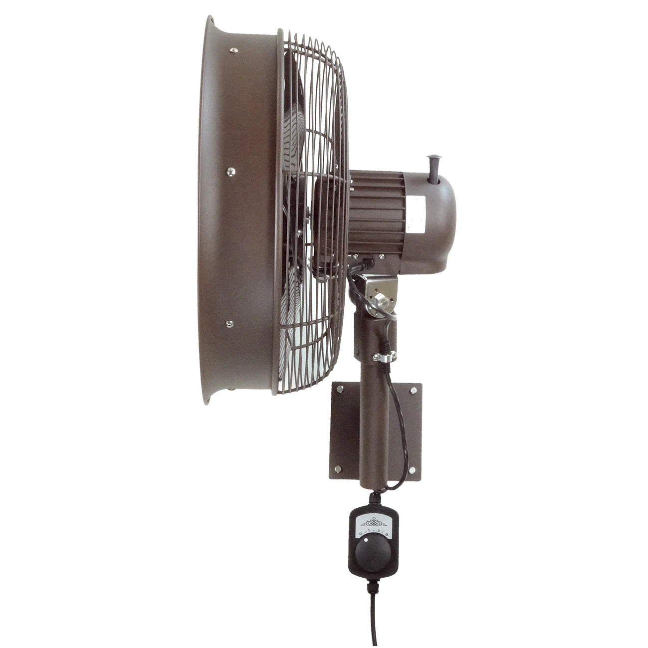 side view of Outdoor 18 Inch Shrouded Oscillating Fan only-3 speed control on cord