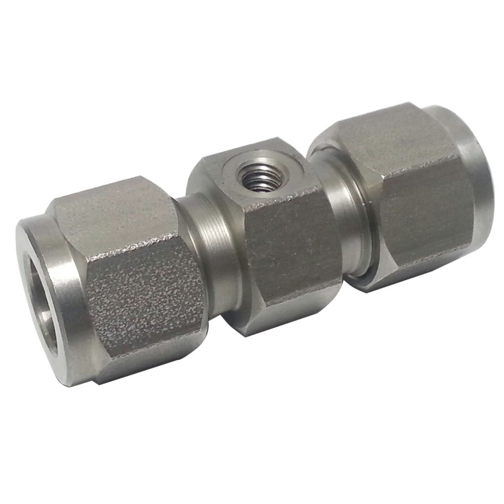 """side view of stainless steel S.S. Nozzle Union 3/8"""" x 10/24 Thread"""