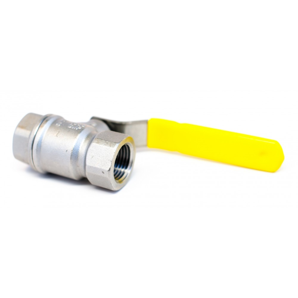 "Side view of S.S. Ball Valve 1/2"" with yellow handle"