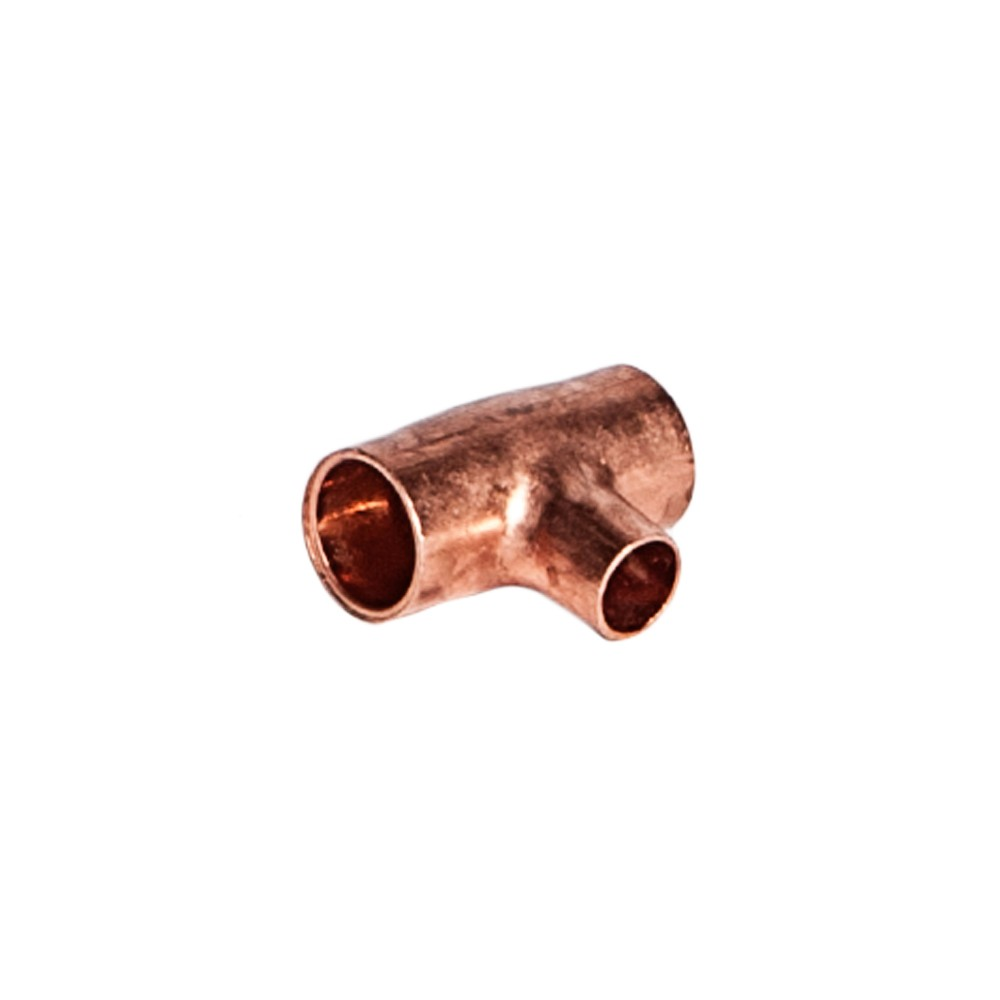 """side view of Copper Reducing Tee 3/8"""" X 1/4"""""""