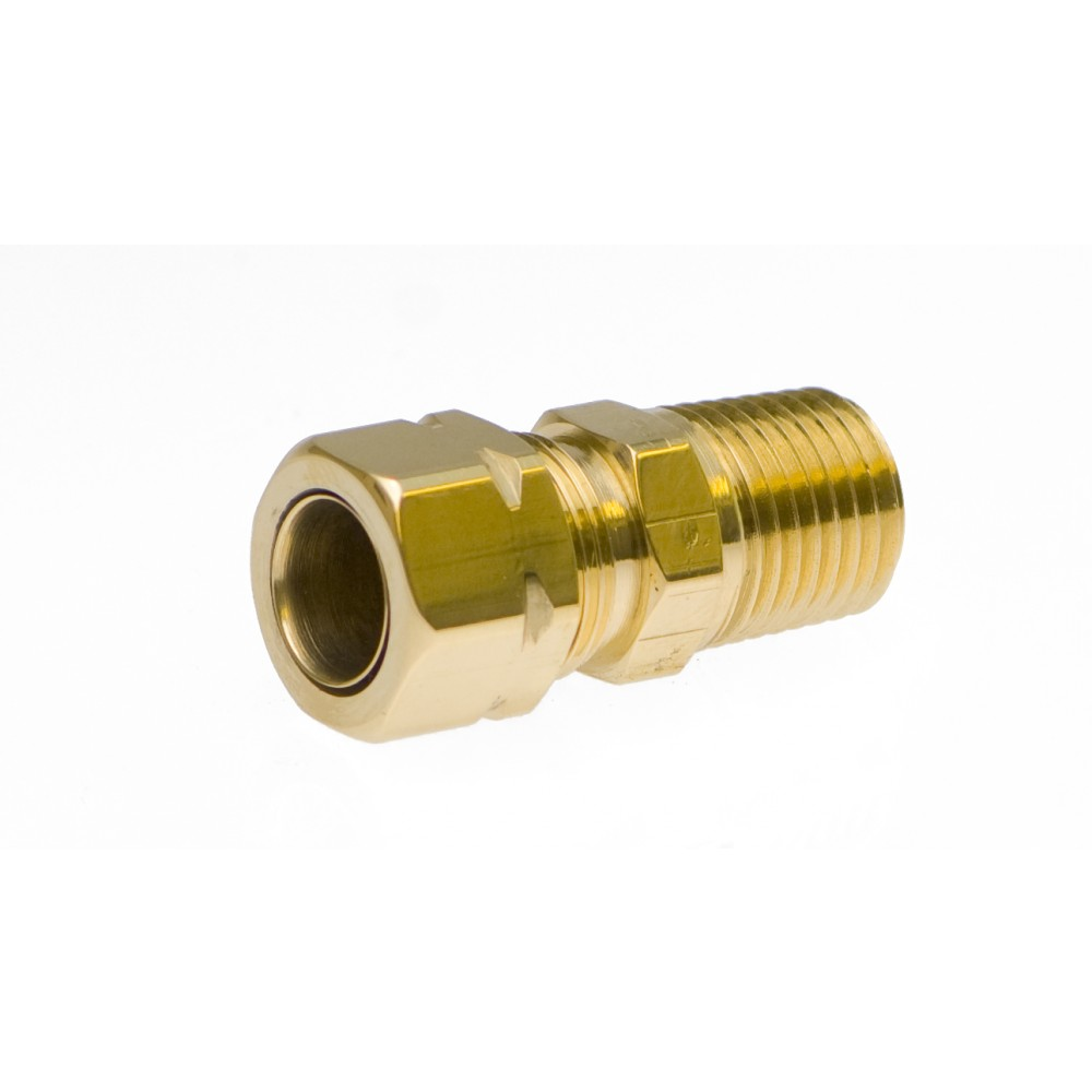 "side view of Brass Male Adapter 3/8"" X 1/4"""
