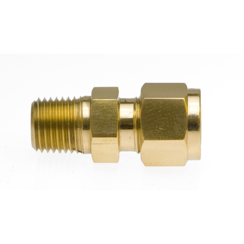 """Front view of Brass Male Adapter 1/2"""" x 3/8"""" MNPT"""