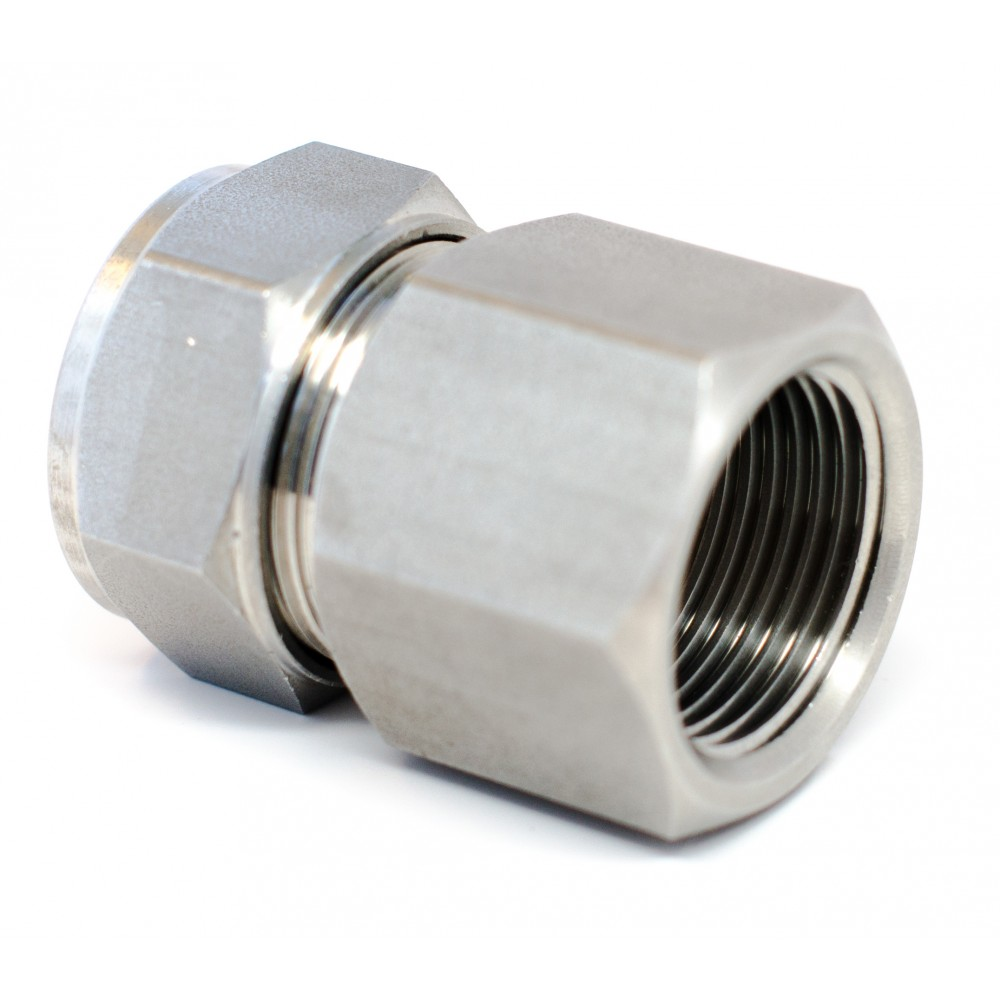 """side view of stainless steel S.S. Female Adapter 3/8"""" x 3/8"""" FNPT"""