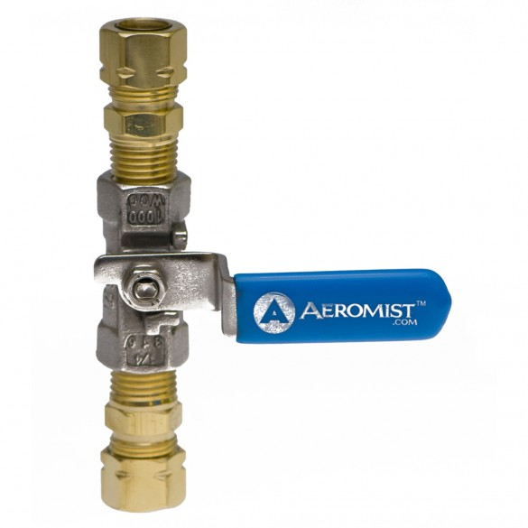 Stainless Steel Ball Valve With hose Adapters and blue handle