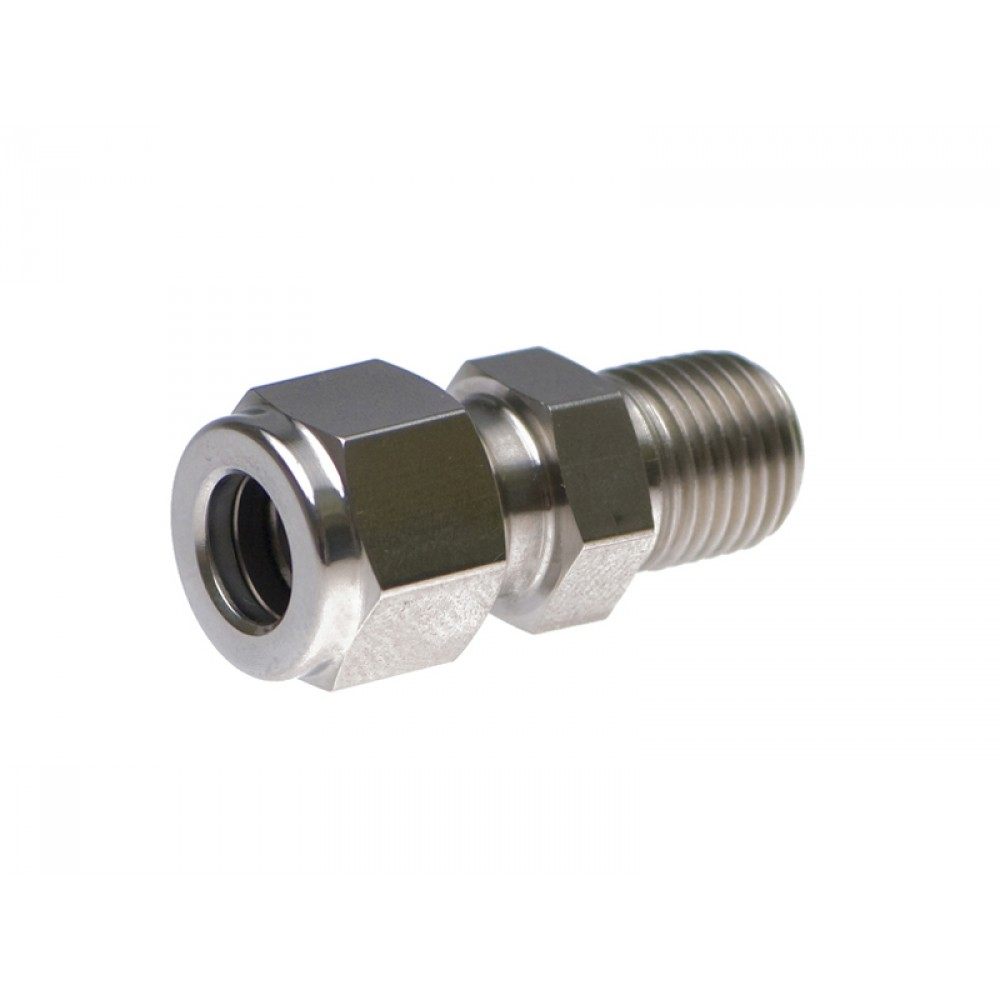 """side view of stainless steel S.S. Male Adapter 1/2"""" X 3/8"""""""