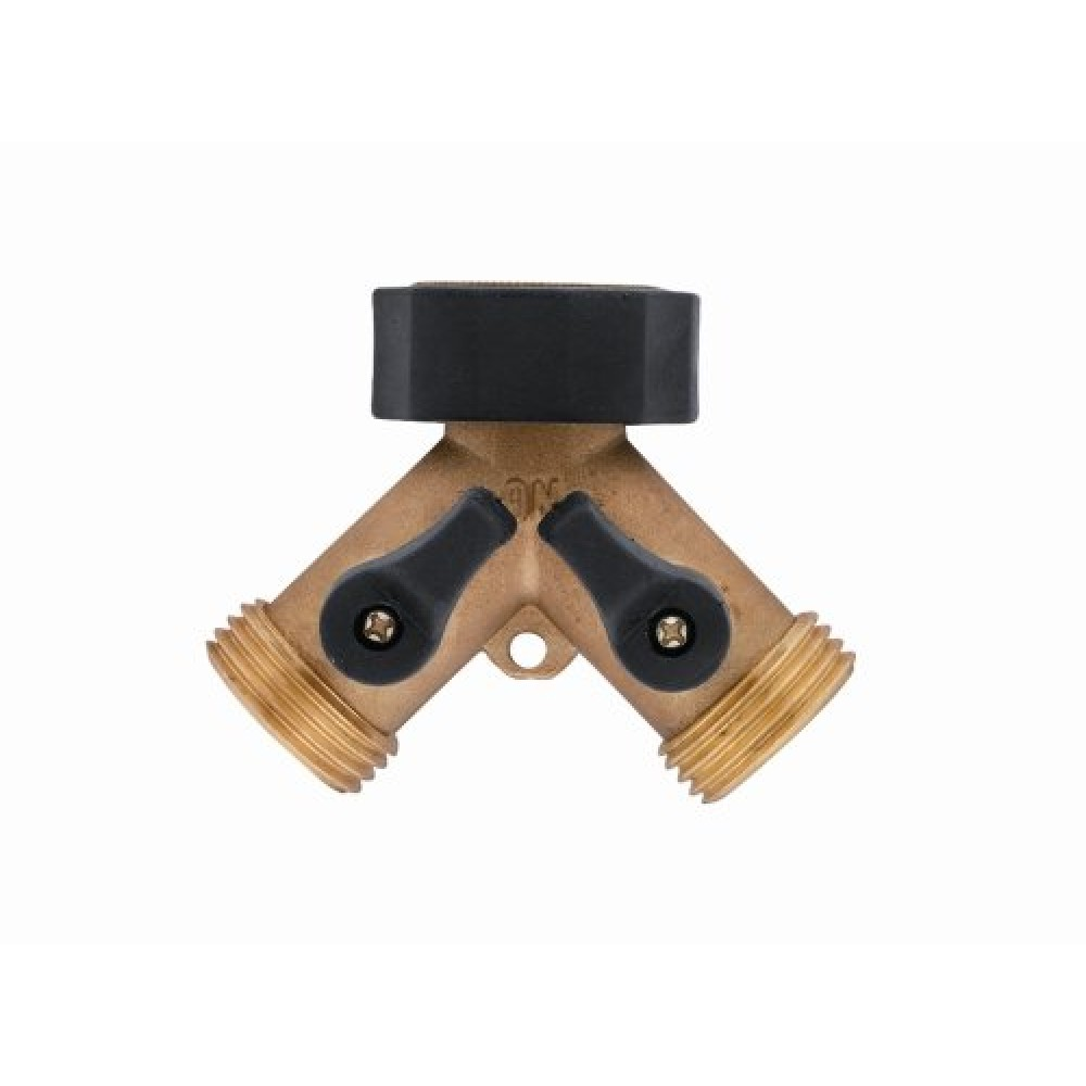 Front view of Brass Hose Y Connector