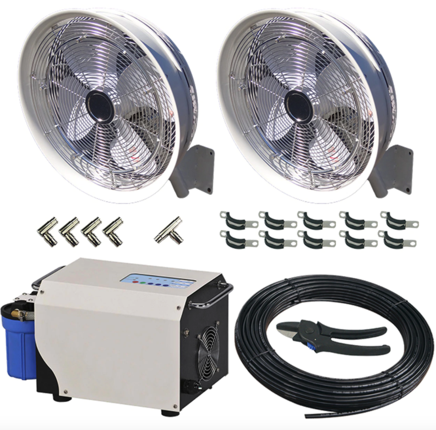 2 misting fan package along with 1 nylon hose cutter, 4- elbow connectors, 10 hose clamps , 1 Tee Coupler pump,
